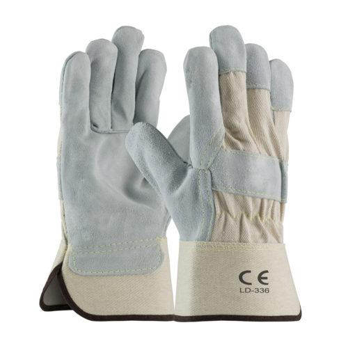 LD-336 Split Leather Work Gloves White Canvas Cuff