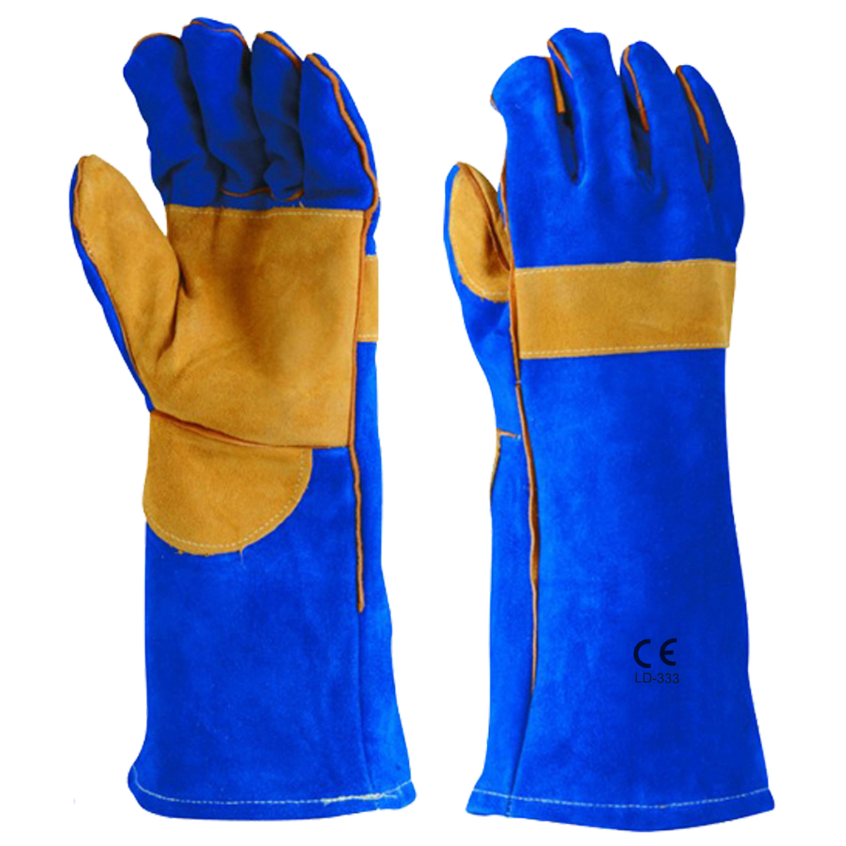 LD-333 Welders Gloves Blue Double Palm