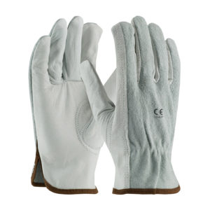 LD-607 Driver Gloves Cowhide Grain Leather with Split Leather