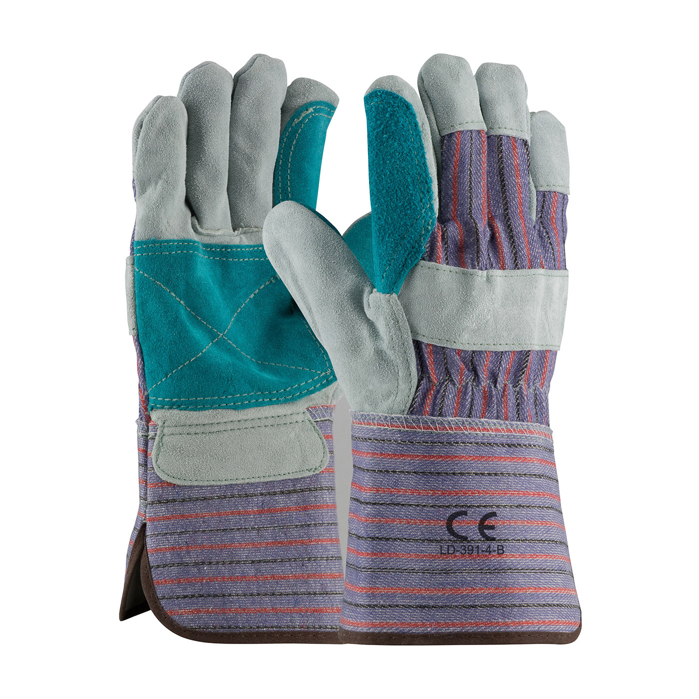"""LD-391-B-4"""" Wide Double Palm Leather Work Gloves"""