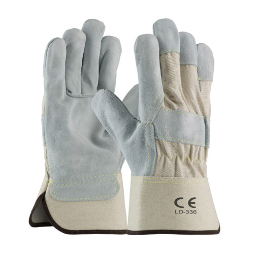 LD-336 Split Leather Work Gloves White Canvas Cuff