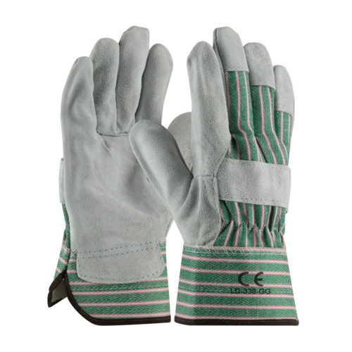 LD-338-GG Work Gloves Green Striped